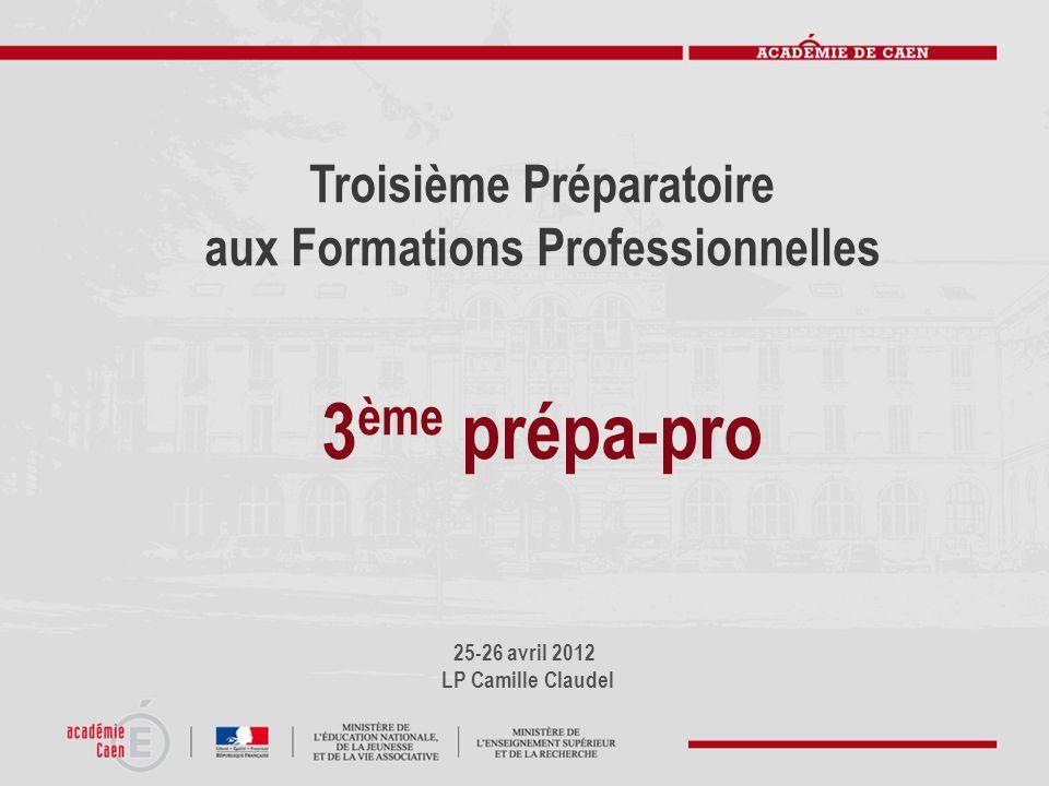 25-26 avril 2012 LP Camille Claudel Troisième Préparatoire aux Formations Professionnelles 3 ème prépa-pro