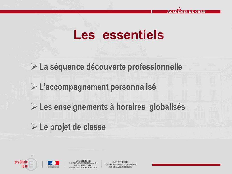 Les essentiels La séquence découverte professionnelle Laccompagnement personnalisé Les enseignements à horaires globalisés Le projet de classe