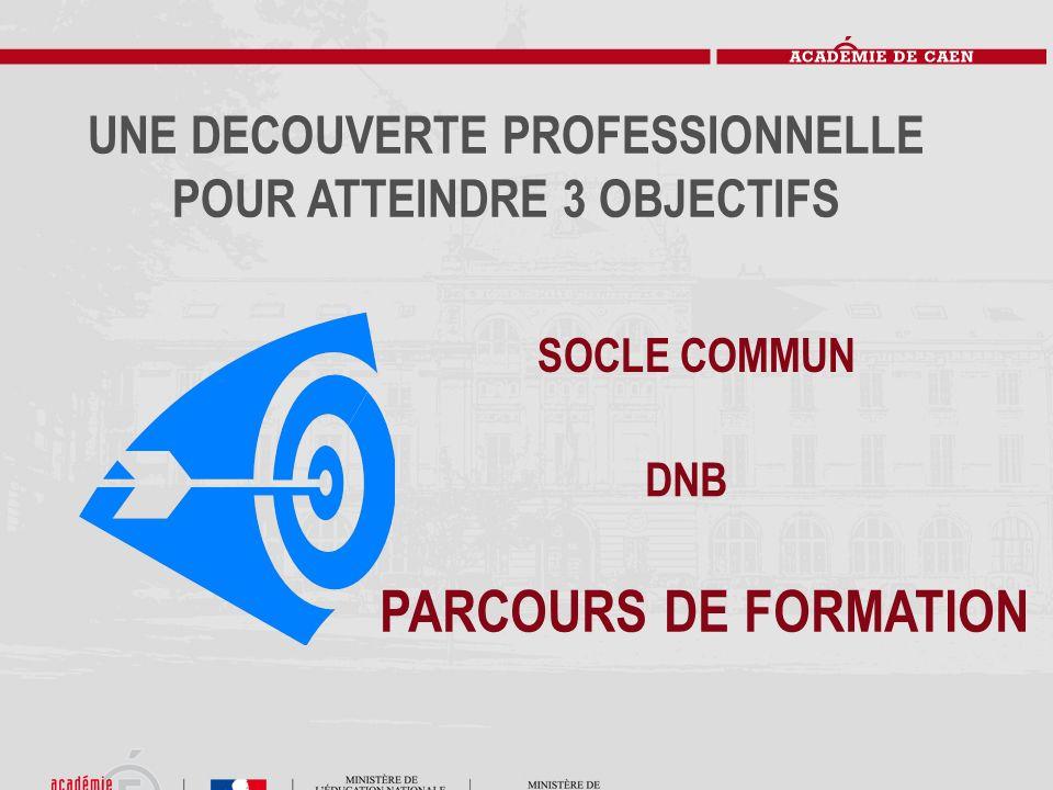 UNE DECOUVERTE PROFESSIONNELLE POUR ATTEINDRE 3 OBJECTIFS DNB PARCOURS DE FORMATION SOCLE COMMUN