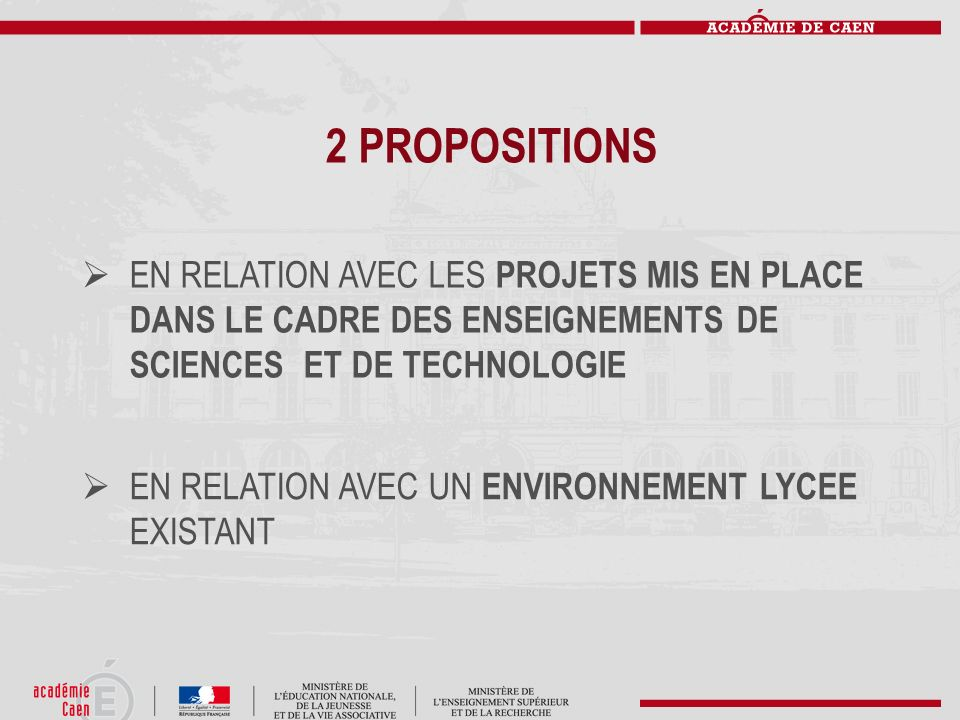 2 PROPOSITIONS EN RELATION AVEC LES PROJETS MIS EN PLACE DANS LE CADRE DES ENSEIGNEMENTS DE SCIENCES ET DE TECHNOLOGIE EN RELATION AVEC UN ENVIRONNEME