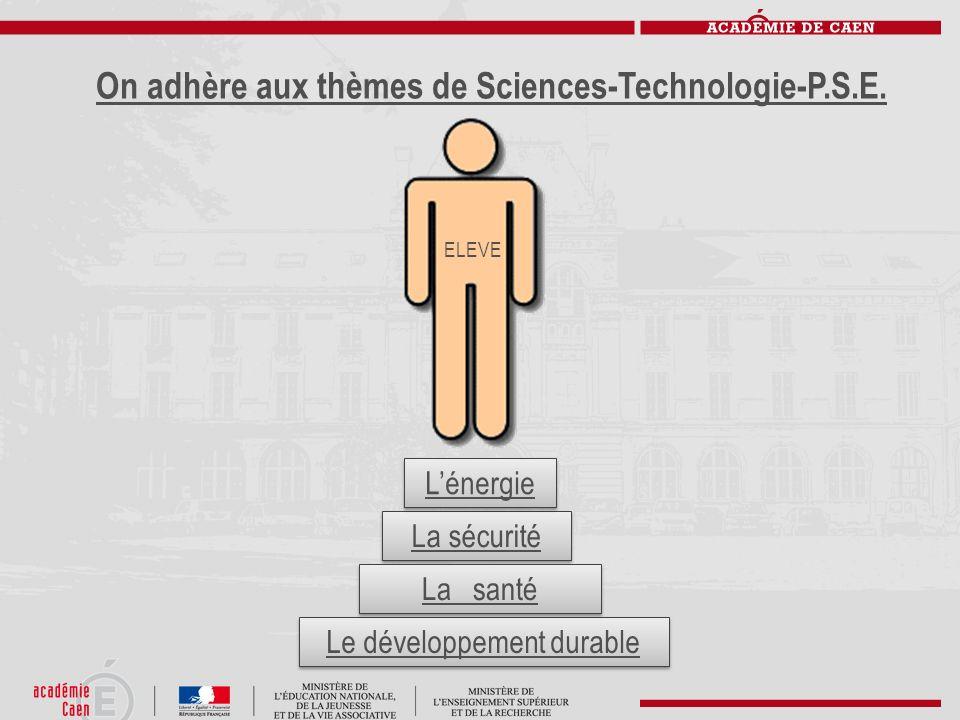 On adhère aux thèmes de Sciences-Technologie-P.S.E. La sécurité Le développement durable Lénergie La santé ELEVE