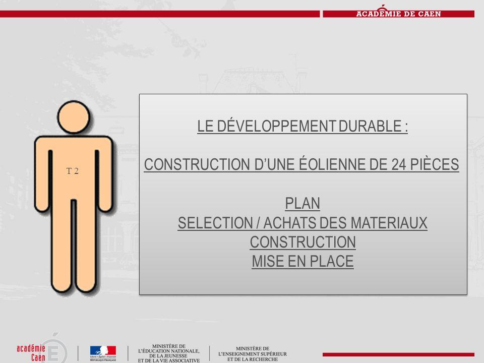 T 2 LE DÉVELOPPEMENT DURABLE : CONSTRUCTION DUNE ÉOLIENNE DE 24 PIÈCES PLAN SELECTION / ACHATS DES MATERIAUX CONSTRUCTION MISE EN PLACE LE DÉVELOPPEME