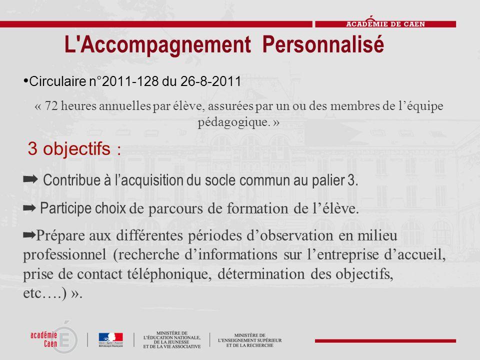 L'Accompagnement Personnalisé Circulaire n°2011-128 du 26-8-2011 « 72 heures annuelles par élève, assurées par un ou des membres de léquipe pédagogiqu