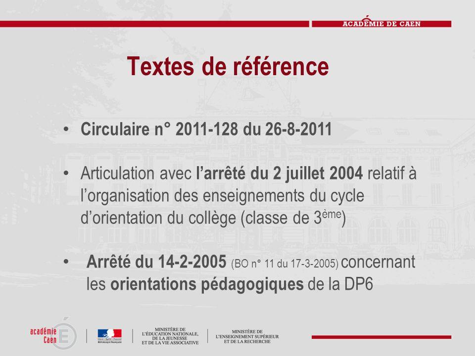 Textes de référence Circulaire n° 2011-128 du 26-8-2011 Articulation avec larrêté du 2 juillet 2004 relatif à lorganisation des enseignements du cycle