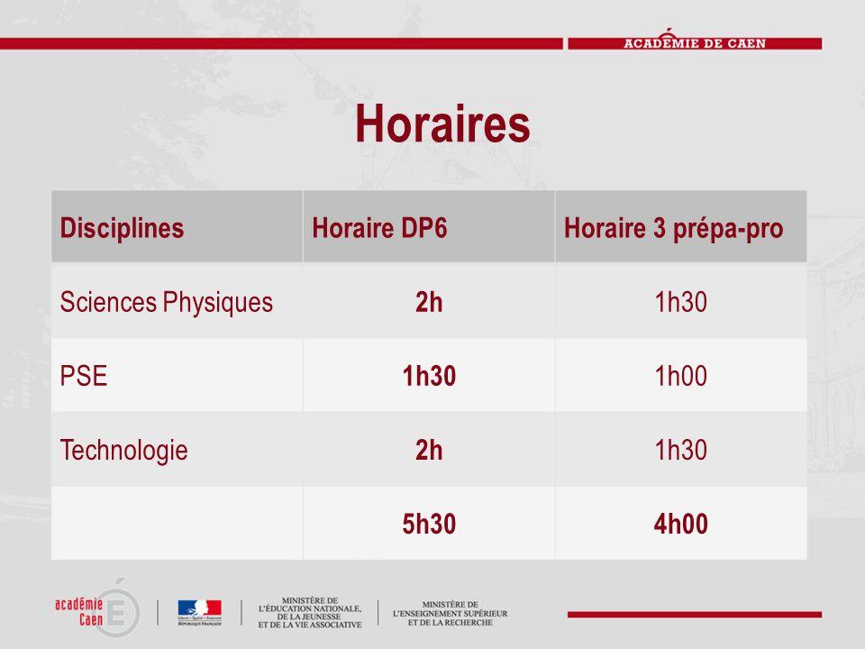 Horaires DisciplinesHoraire DP6Horaire 3 prépa-pro Sciences Physiques 2h 1h30 PSE 1h30 1h00 Technologie 2h 1h30 5h304h00