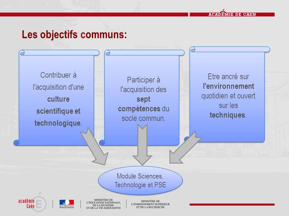 Les objectifs communs: Contribuer à l'acquisition d'une culture scientifique et technologique. Participer à l'acquisition des sept compétences du socl
