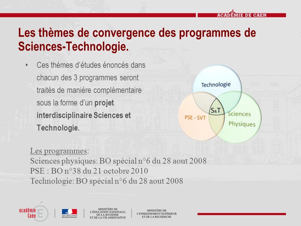 Les thèmes de convergence des programmes de Sciences-Technologie. Ces thèmes détudes énoncés dans chacun des 3 programmes seront traités de manière co