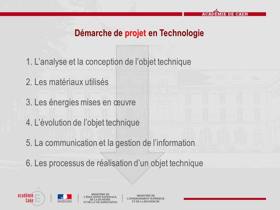 Démarche de projet en Technologie 1. Lanalyse et la conception de lobjet technique 2. Les matériaux utilisés 3. Les énergies mises en œuvre 4. Lévolut
