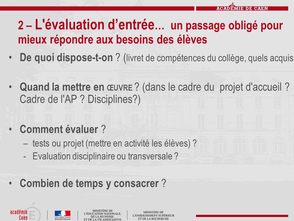 2 – L'évaluation dentrée … un passage obligé pour mieux répondre aux besoins des élèves De quoi dispose-t-on ? ( livret de compétences du collège, que