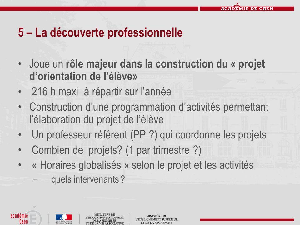 5 – La découverte professionnelle Joue un rôle majeur dans la construction du « projet dorientation de lélève» 216 h maxi à répartir sur l'année Const