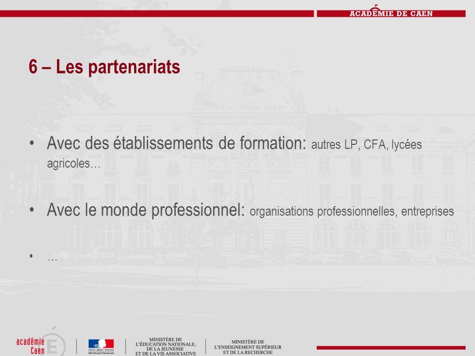 6 – Les partenariats Avec des établissements de formation: autres LP, CFA, lycées agricoles… Avec le monde professionnel: organisations professionnell