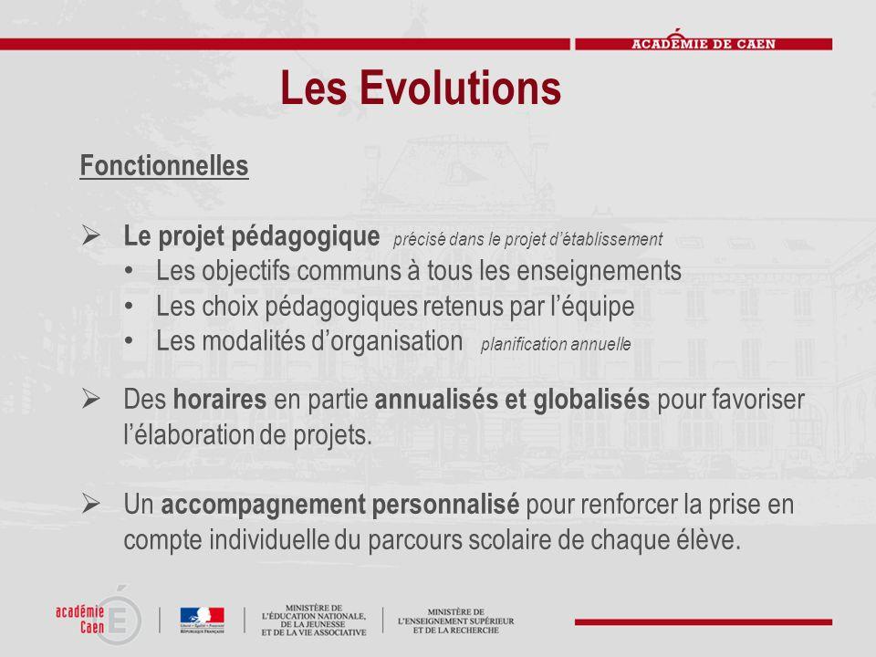 Les Evolutions Fonctionnelles Le projet pédagogique précisé dans le projet détablissement Les objectifs communs à tous les enseignements Les choix péd
