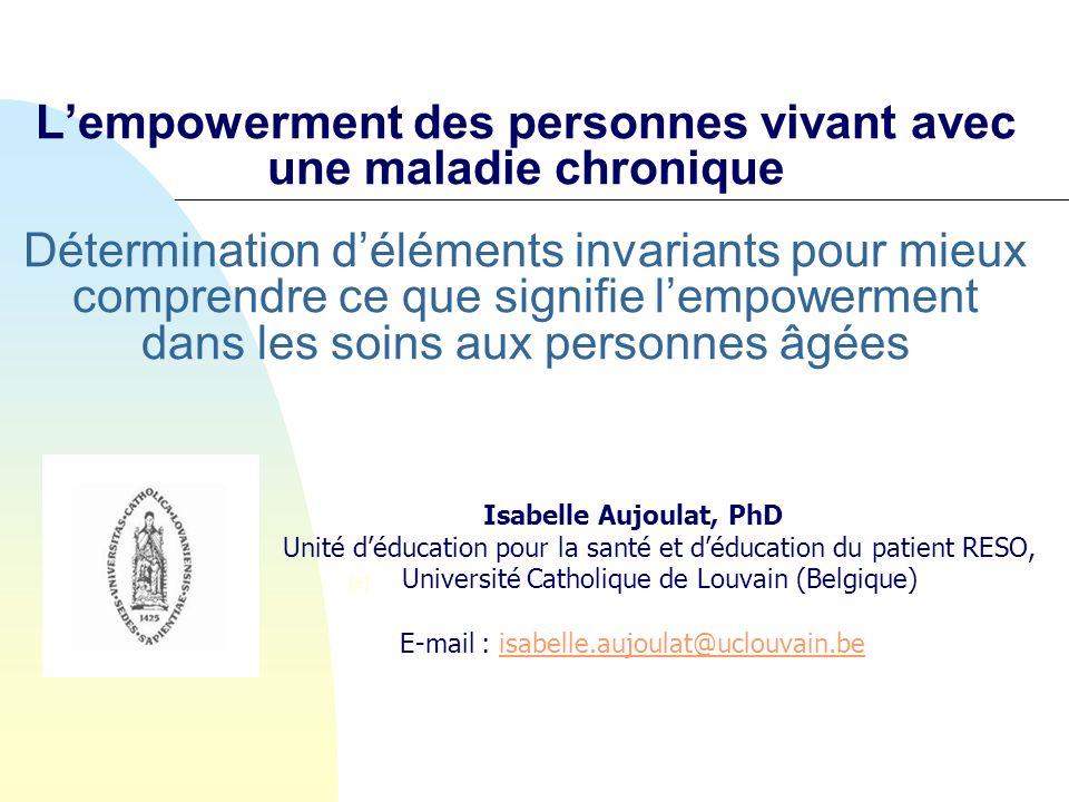Lempowerment des personnes vivant avec une maladie chronique Détermination déléments invariants pour mieux comprendre ce que signifie lempowerment dan