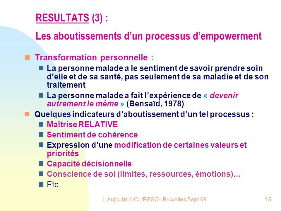 I. Aujoulat, UCL/RESO - Bruxelles Sept.0915 RESULTATS (3) : Les aboutissements dun processus dempowerment nTransformation personnelle : nLa personne m