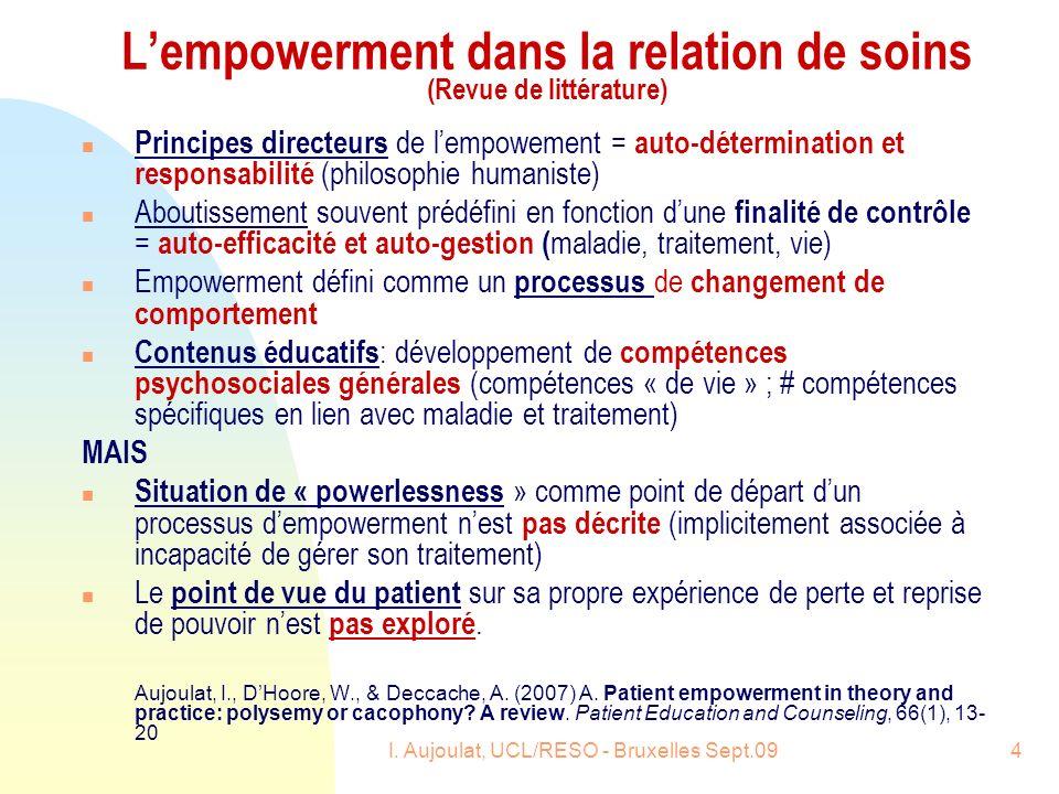 I. Aujoulat, UCL/RESO - Bruxelles Sept.094 Lempowerment dans la relation de soins (Revue de littérature) n Principes directeurs de lempowement = auto-