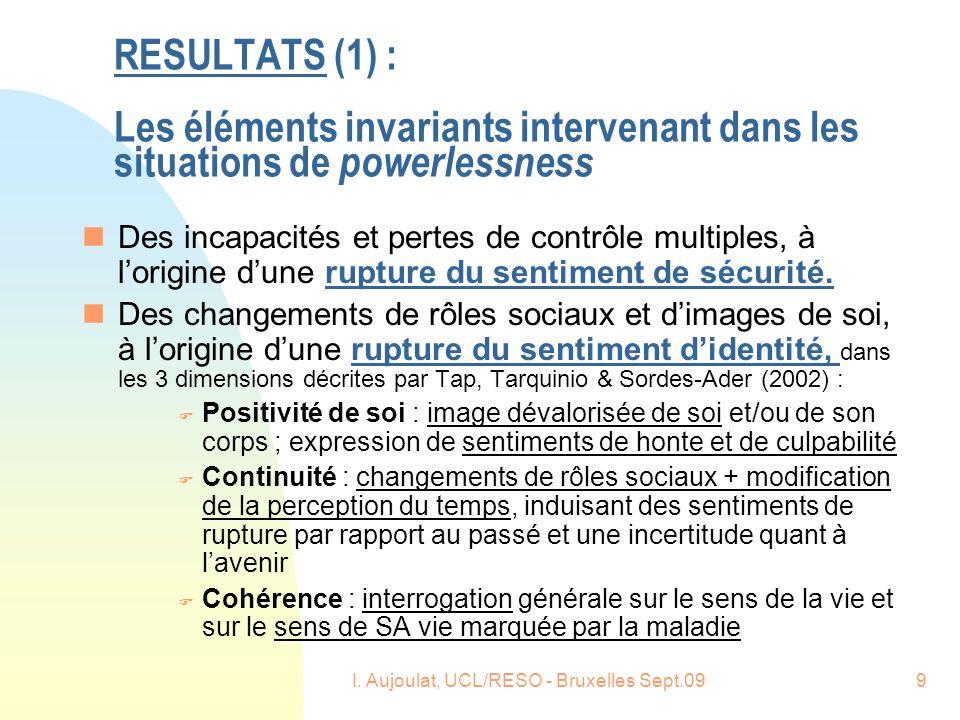 I. Aujoulat, UCL/RESO - Bruxelles Sept.099 RESULTATS (1) : Les éléments invariants intervenant dans les situations de powerlessness nDes incapacités e