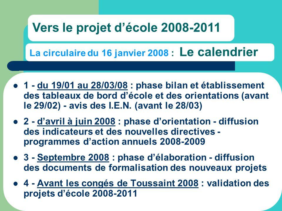 La circulaire du 16 janvier 2008 : Le calendrier 1 - du 19/01 au 28/03/08 : phase bilan et établissement des tableaux de bord décole et des orientations (avant le 29/02) - avis des I.E.N.