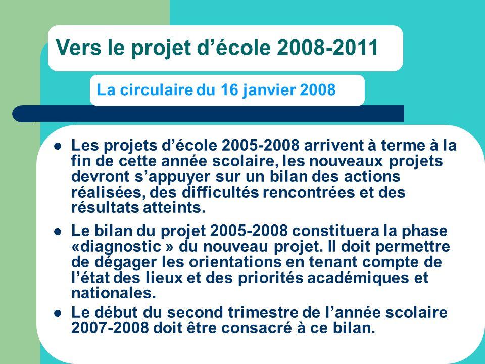 La circulaire du 16 janvier 2008 Les projets décole 2005-2008 arrivent à terme à la fin de cette année scolaire, les nouveaux projets devront sappuyer sur un bilan des actions réalisées, des difficultés rencontrées et des résultats atteints.