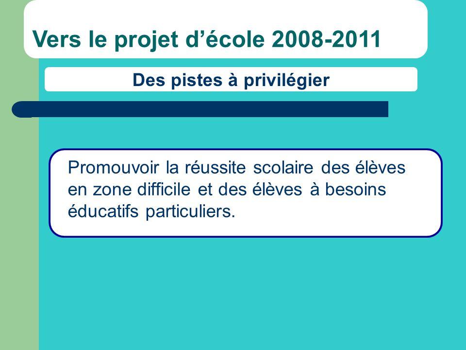 Promouvoir la réussite scolaire des élèves en zone difficile et des élèves à besoins éducatifs particuliers. Vers le projet décole 2008-2011 Des piste