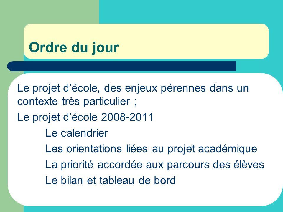 Ordre du jour Le projet décole, des enjeux pérennes dans un contexte très particulier ; Le projet décole 2008-2011 Le calendrier Les orientations liée