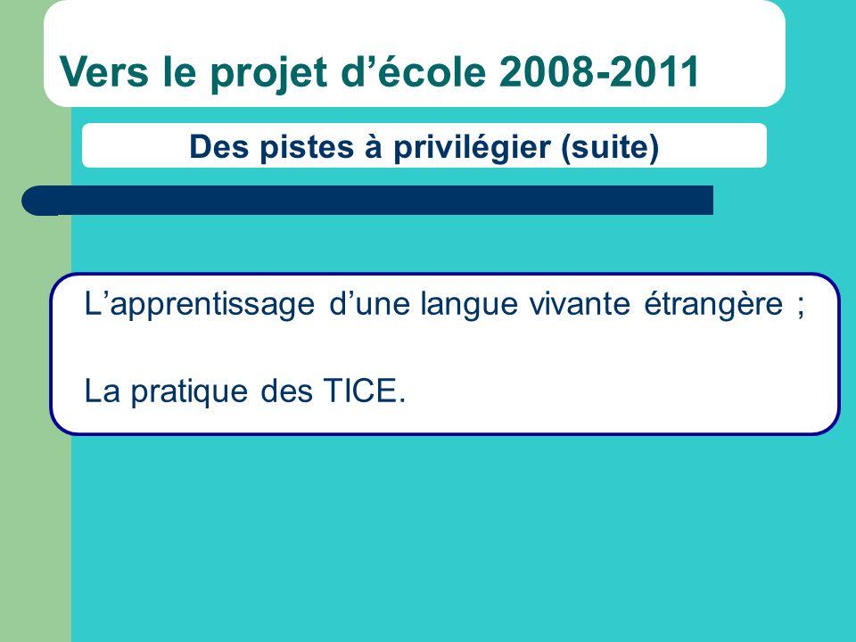 Lapprentissage dune langue vivante étrangère ; La pratique des TICE. Vers le projet décole 2008-2011 Des pistes à privilégier (suite)