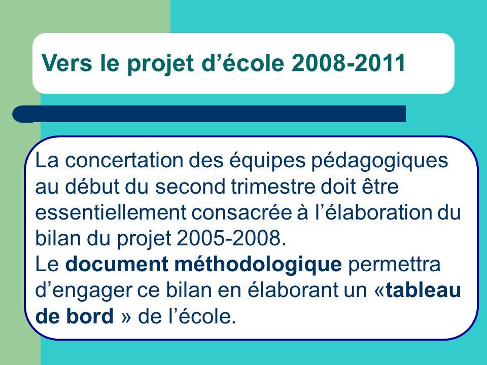 Vers le projet décole 2008-2011 La concertation des équipes pédagogiques au début du second trimestre doit être essentiellement consacrée à lélaboration du bilan du projet 2005-2008.