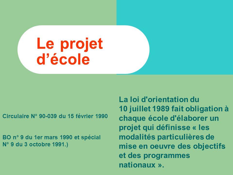 Le projet décole La loi d orientation du 10 juillet 1989 fait obligation à chaque école d élaborer un projet qui définisse « les modalités particulières de mise en oeuvre des objectifs et des programmes nationaux ».