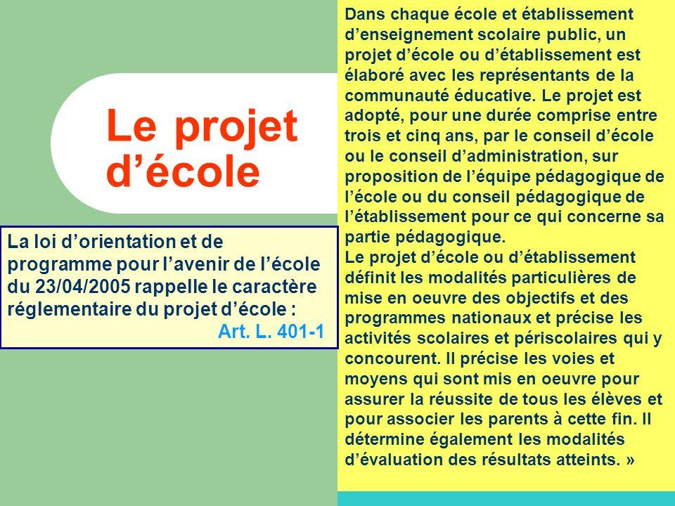 Le projet décole Dans chaque école et établissement denseignement scolaire public, un projet décole ou détablissement est élaboré avec les représentants de la communauté éducative.