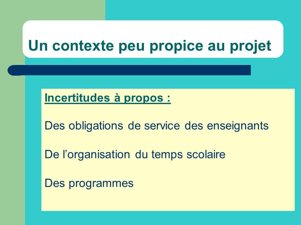 Un contexte peu propice au projet Incertitudes à propos : Des obligations de service des enseignants De lorganisation du temps scolaire Des programmes