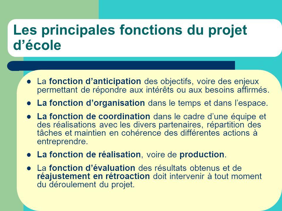 Les principales fonctions du projet décole La fonction danticipation des objectifs, voire des enjeux permettant de répondre aux intérêts ou aux besoins affirmés.