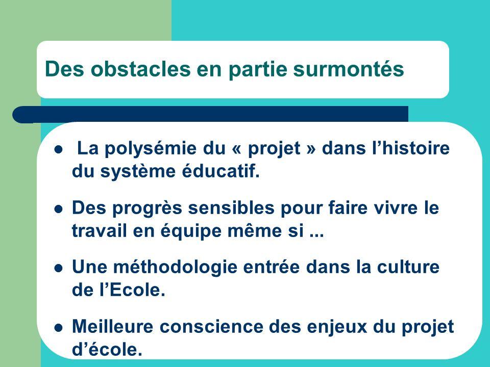Des obstacles en partie surmontés La polysémie du « projet » dans lhistoire du système éducatif. Des progrès sensibles pour faire vivre le travail en