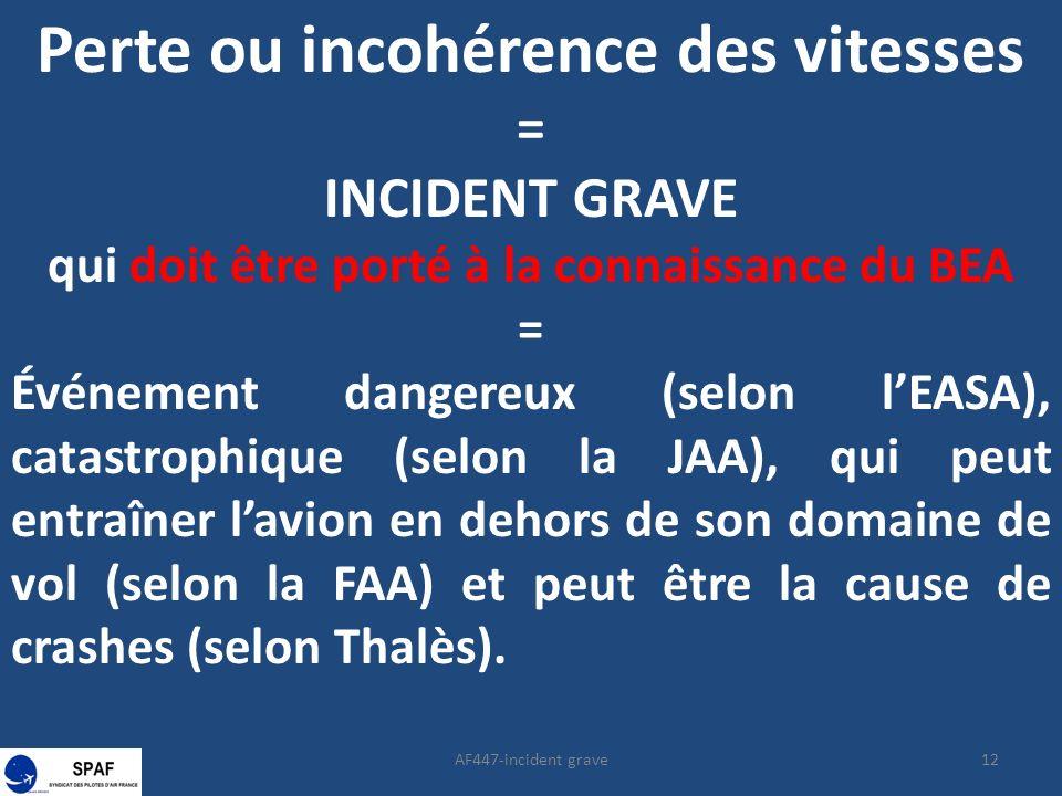 12AF447-incident grave Perte ou incohérence des vitesses = INCIDENT GRAVE qui doit être porté à la connaissance du BEA = Événement dangereux (selon lEASA), catastrophique (selon la JAA), qui peut entraîner lavion en dehors de son domaine de vol (selon la FAA) et peut être la cause de crashes (selon Thalès).