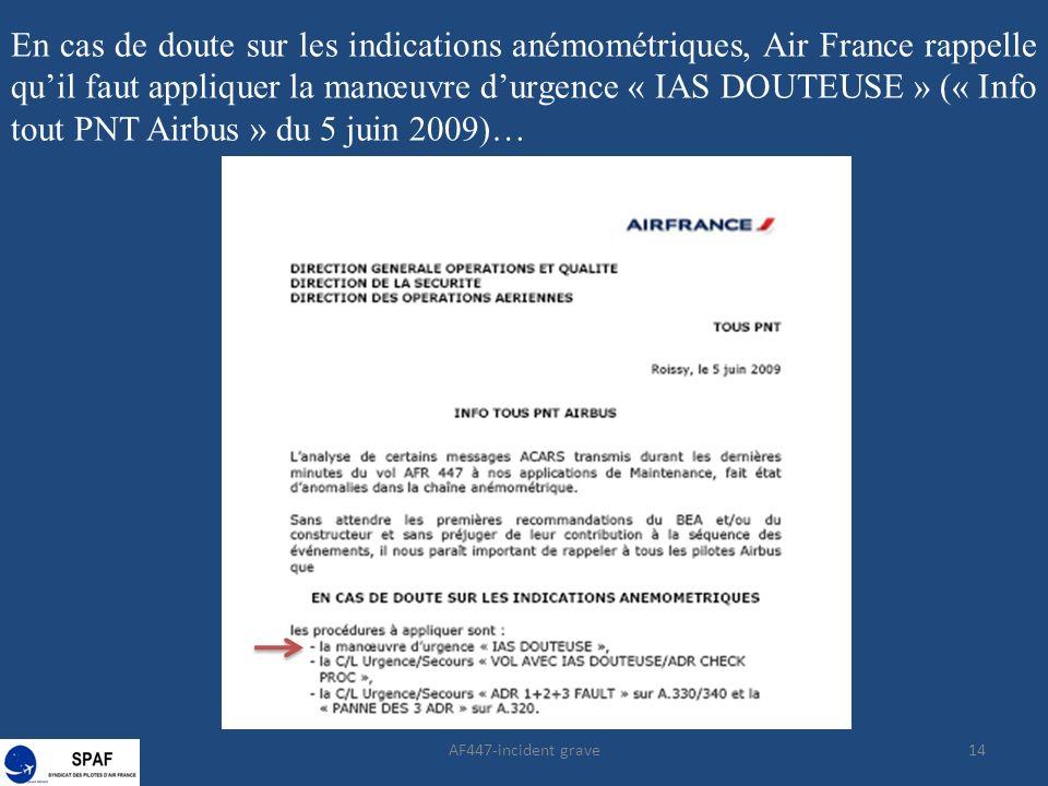 14 En cas de doute sur les indications anémométriques, Air France rappelle quil faut appliquer la manœuvre durgence « IAS DOUTEUSE » (« Info tout PNT