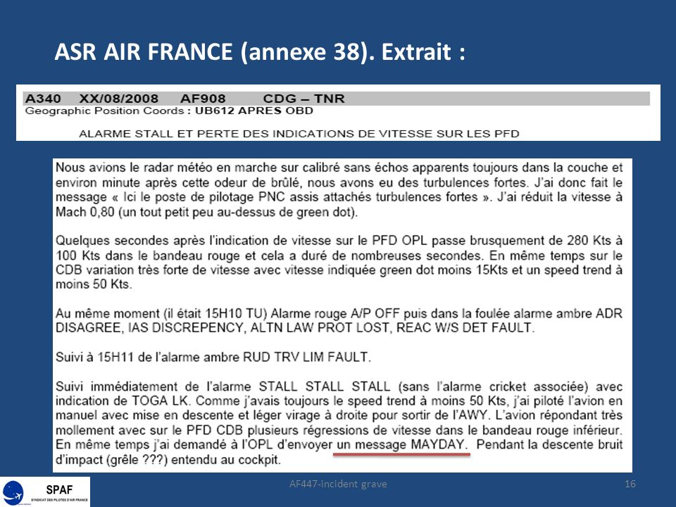 16 ASR AIR FRANCE (annexe 38). Extrait :