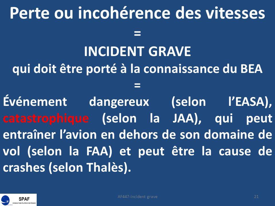21AF447-incident grave Perte ou incohérence des vitesses = INCIDENT GRAVE qui doit être porté à la connaissance du BEA = Événement dangereux (selon lEASA), catastrophique (selon la JAA), qui peut entraîner lavion en dehors de son domaine de vol (selon la FAA) et peut être la cause de crashes (selon Thalès).