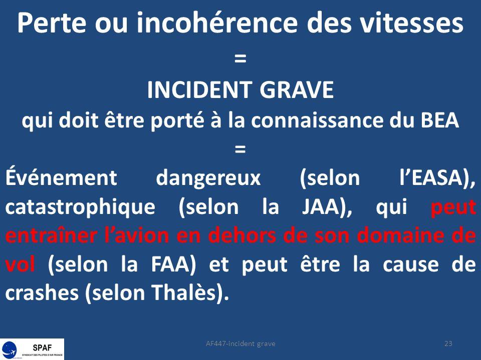 23AF447-incident grave Perte ou incohérence des vitesses = INCIDENT GRAVE qui doit être porté à la connaissance du BEA = Événement dangereux (selon lE