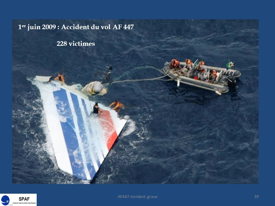 AF447-incident grave39 1 er juin 2009 : Accident du vol AF 447 228 victimes 39AF447-incident grave