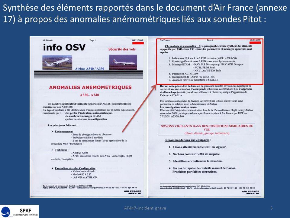 AF447-incident grave5 Synthèse des éléments rapportés dans le document dAir France (annexe 17) à propos des anomalies anémométriques liés aux sondes P