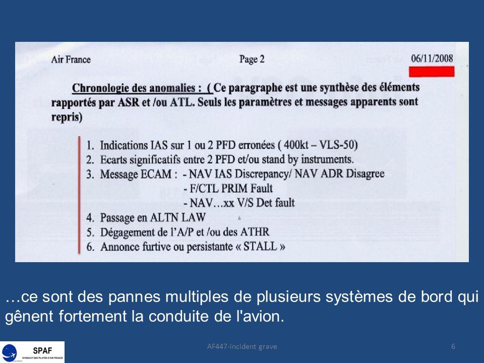 …ce sont des pannes multiples de plusieurs systèmes de bord qui gênent fortement la conduite de l'avion. 6AF447-incident grave