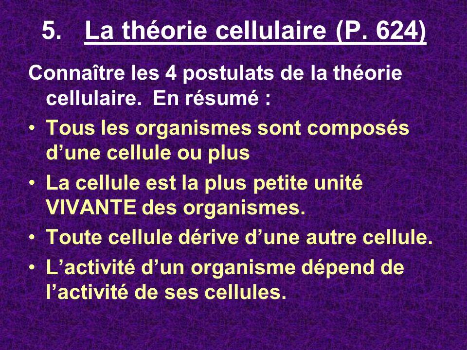 5. La théorie cellulaire (P. 624) Connaître les 4 postulats de la théorie cellulaire. En résumé : Tous les organismes sont composés dune cellule ou pl