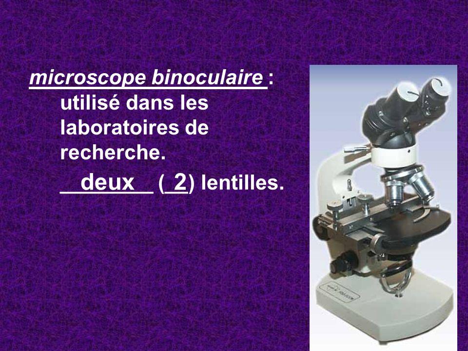 microscope binoculaire : utilisé dans les laboratoires de recherche. ________ (__) lentilles. deux 2