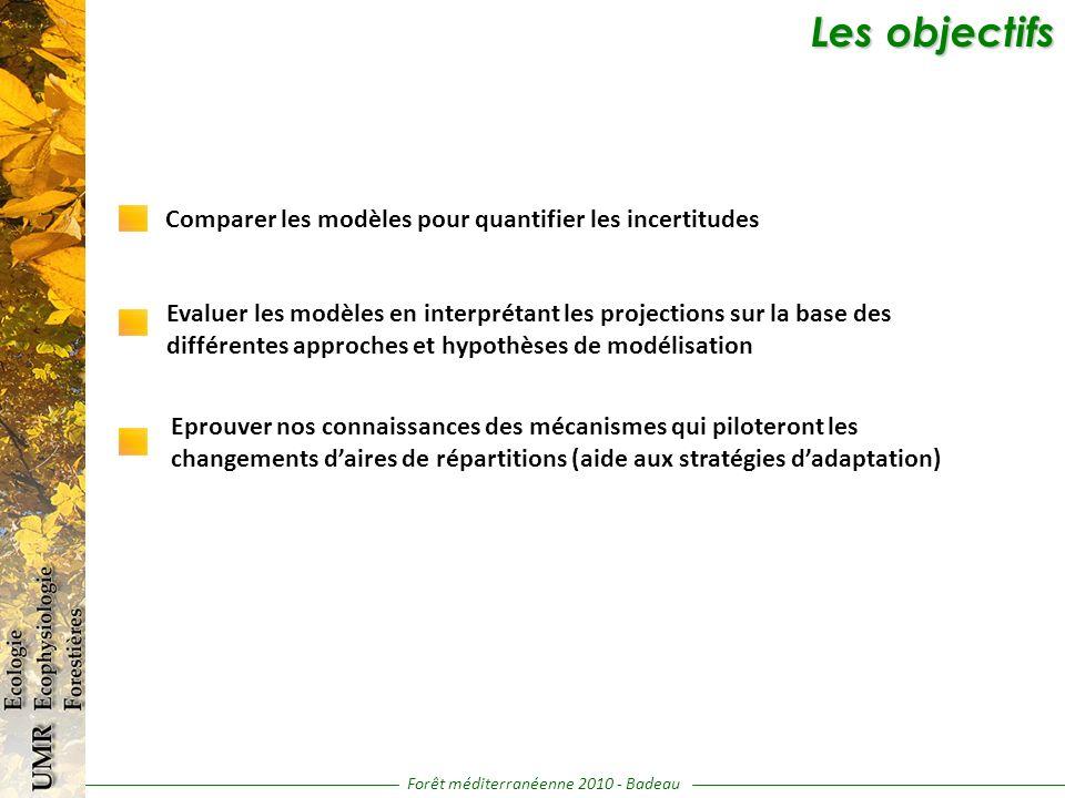 Les objectifs Les objectifs Forêt méditerranéenne 2010 - Badeau Comparer les modèles pour quantifier les incertitudes Evaluer les modèles en interprétant les projections sur la base des différentes approches et hypothèses de modélisation Eprouver nos connaissances des mécanismes qui piloteront les changements daires de répartitions (aide aux stratégies dadaptation)