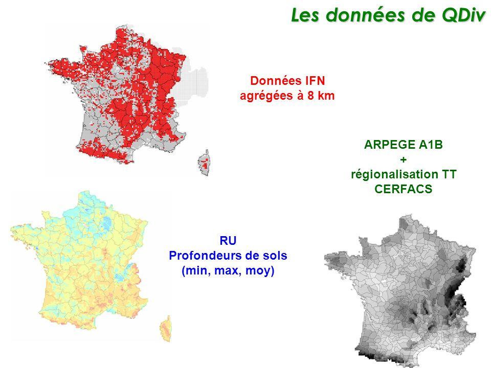 Données IFN agrégées à 8 km RU Profondeurs de sols (min, max, moy) ARPEGE A1B + régionalisation TT CERFACS Les données de QDiv Les données de QDiv