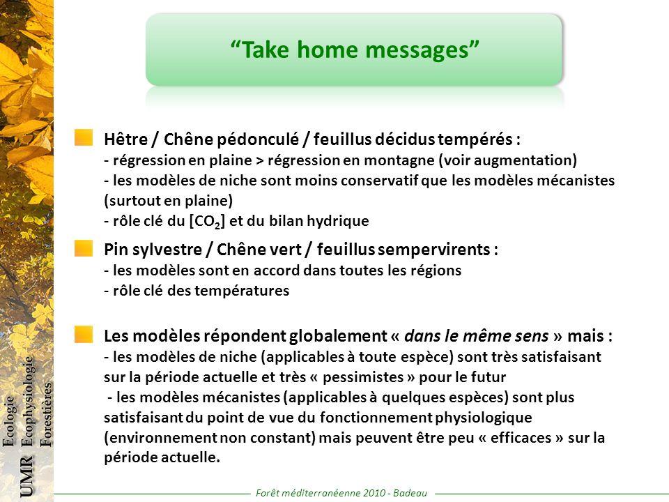 Forêt méditerranéenne 2010 - Badeau Take home messages Hêtre / Chêne pédonculé / feuillus décidus tempérés : - régression en plaine > régression en mo