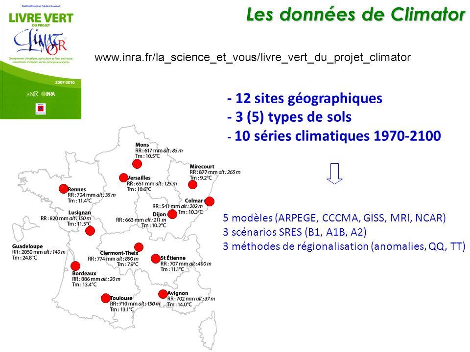 Les données de Climator Les données de Climator - 12 sites géographiques - 3 (5) types de sols - 10 séries climatiques 1970-2100 5 modèles (ARPEGE, CCCMA, GISS, MRI, NCAR) 3 scénarios SRES (B1, A1B, A2) 3 méthodes de régionalisation (anomalies, QQ, TT) www.inra.fr/la_science_et_vous/livre_vert_du_projet_climator