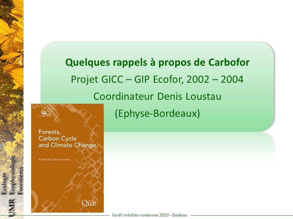 Quelques rappels à propos de Carbofor Projet GICC – GIP Ecofor, 2002 – 2004 Coordinateur Denis Loustau (Ephyse-Bordeaux) Forêt méditerranéenne 2010 -
