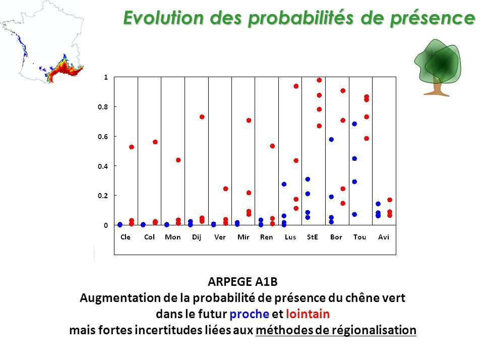 Evolution des probabilités de présence ARPEGE A1B Augmentation de la probabilité de présence du chêne vert dans le futur proche et lointain mais fortes incertitudes liées aux méthodes de régionalisation