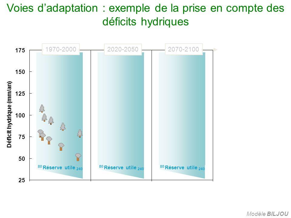 80 Réserve utile 240 Voies dadaptation : exemple de la prise en compte des déficits hydriques Modèle BILJOU 25 50 75 100 125 150 175 Déficit hydrique (mm/an) 1970-20002070-2100 2020-2050