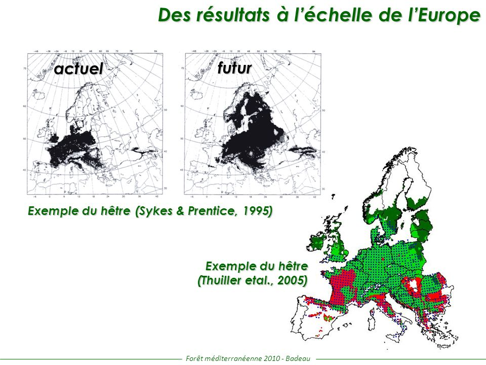 Forêt méditerranéenne 2010 - Badeau Take home messages Hêtre / Chêne pédonculé / feuillus décidus tempérés : - régression en plaine > régression en montagne (voir augmentation) - les modèles de niche sont moins conservatif que les modèles mécanistes (surtout en plaine) - rôle clé du [CO 2 ] et du bilan hydrique Pin sylvestre / Chêne vert / feuillus sempervirents : - les modèles sont en accord dans toutes les régions - rôle clé des températures Les modèles répondent globalement « dans le même sens » mais : - les modèles de niche (applicables à toute espèce) sont très satisfaisant sur la période actuelle et très « pessimistes » pour le futur - les modèles mécanistes (applicables à quelques espèces) sont plus satisfaisant du point de vue du fonctionnement physiologique (environnement non constant) mais peuvent être peu « efficaces » sur la période actuelle.