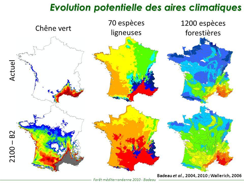 Chêne vert 70 espèces ligneuses 1200 espèces forestières Actuel 2100 – B2 Evolution potentielle des aires climatiques Evolution potentielle des aires